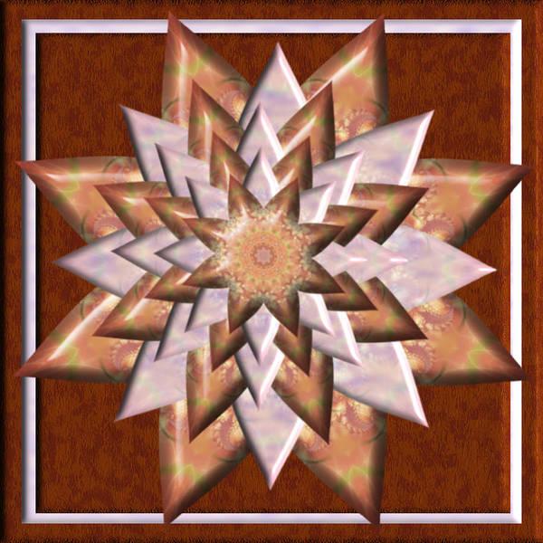 Digital Art - Copper Daisy 3d Kaleidoscope by Charmaine Zoe