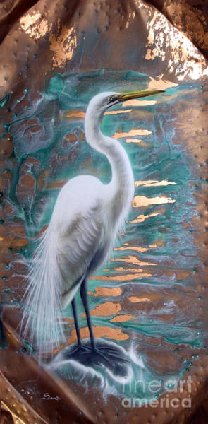 Painting - Copper Egret by Sandi Baker