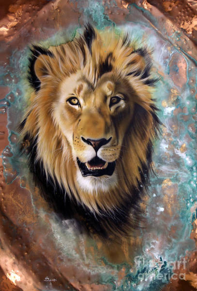 Wall Art - Painting - Copper Majesty - Lion by Sandi Baker