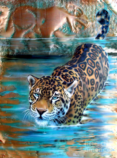 Jaguar Painting - Copper - Temple Of The Jaguar by Sandi Baker