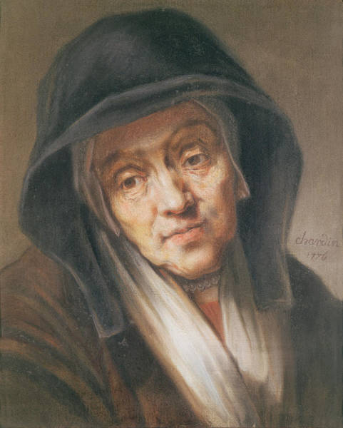 Homage Photograph - Copy Of A Portrait By Rembrandt Of His Mother, 1776 Pastel On Paper by Jean-Baptiste Simeon Chardin