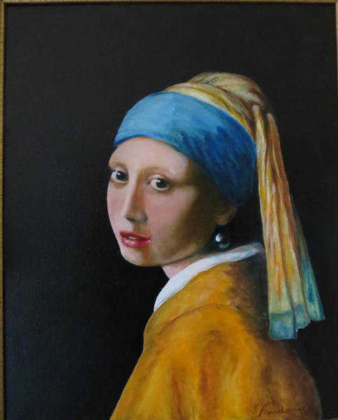 Master Piece Painting - Copy Of Girl With Pearl Earring by Leonard Franckowiak