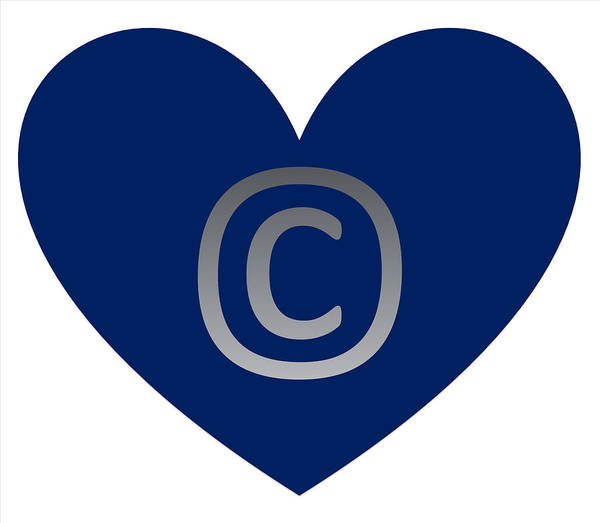 Digital Art - Copy Right Emblem Navy Blue by Catherine Lott