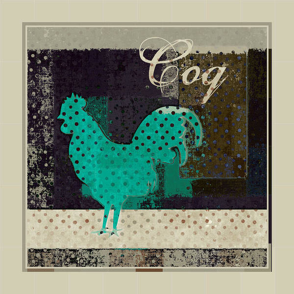 Rooster Digital Art - Coq Art - 01vb2-j049088094-c3a by Variance Collections
