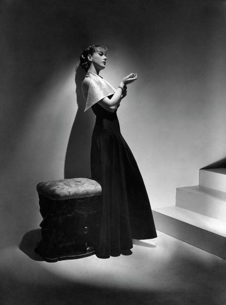 Lanvin Photograph - Cora Hemmet Wearing A Gown With Lame Revers by Horst P. Horst