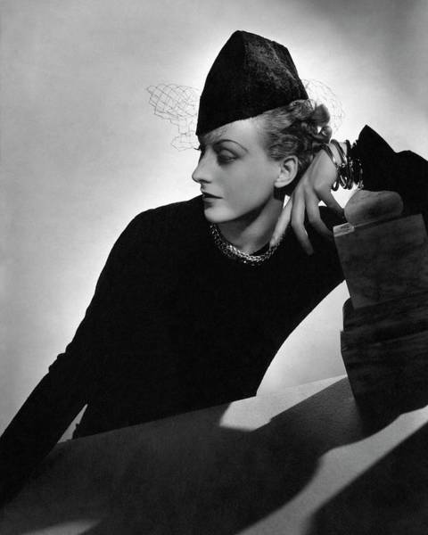 Glamour Photograph - Cora Hemmet Wearing Rose Descat by Horst P. Horst
