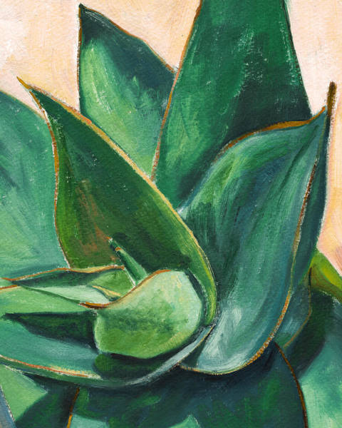 Agave Painting - Coral Aloe 3 by Athena Mantle