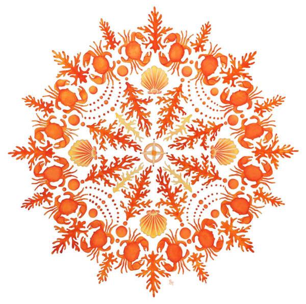 Aquatic Wall Art - Painting - Coral Crab Mandala by Stephanie Troxell