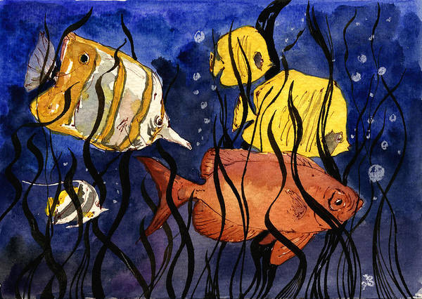 Wall Art - Painting - Coral Fishes Seaweed by Juan  Bosco