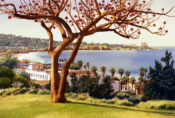 Mount Soledad Wall Art - Painting - Coral Tree With La Jolla Shores by Mary Helmreich