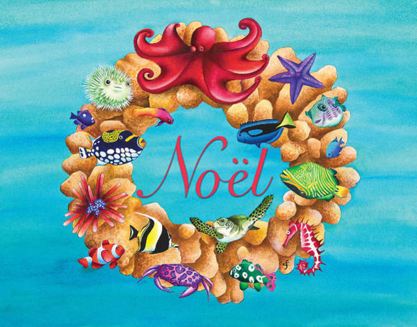 Seahorse Photograph - Coral Wreath Noel by MGL Meiklejohn Graphics Licensing