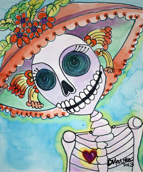 Painting - Corazon De Catrina by Laurie Maves ART