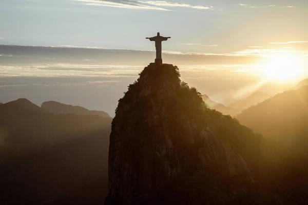 Silhouette Photograph - Corcovado At Sunset, Rio De Janeiro by Christian Adams