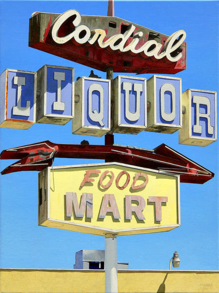 Neon Sign Painting - Cordial Liquor by Michael Ward