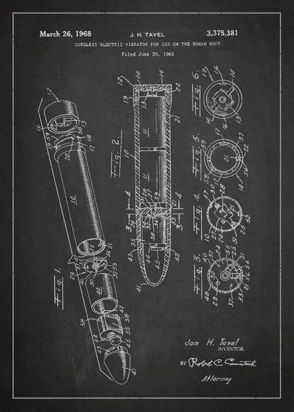 Device Digital Art - Cordless Vibrator Patent Drawing From 1966 by Aged Pixel