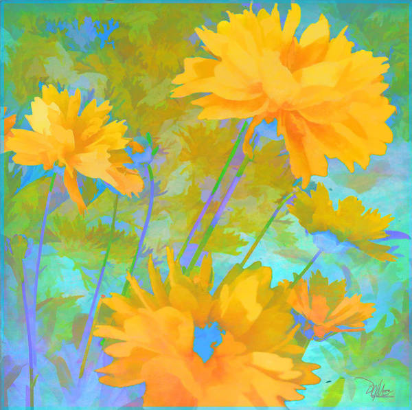 Coreopsis - Yellow And Green Art Print