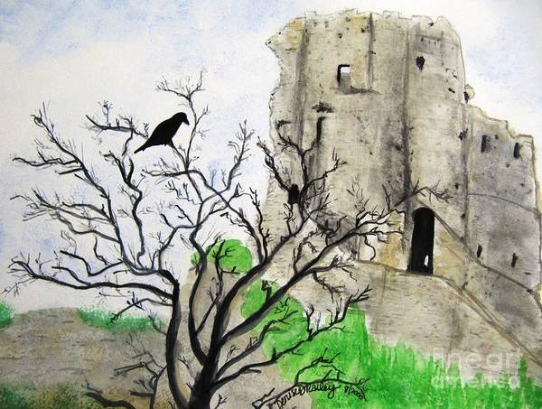 Corfe Castle And Crow Art Print