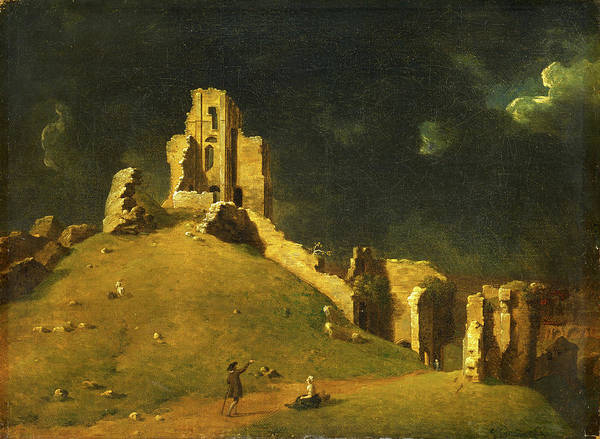 Corfe Painting - Corfe Castle, Dorset Okehampton Castle Signed And Dated by Litz Collection