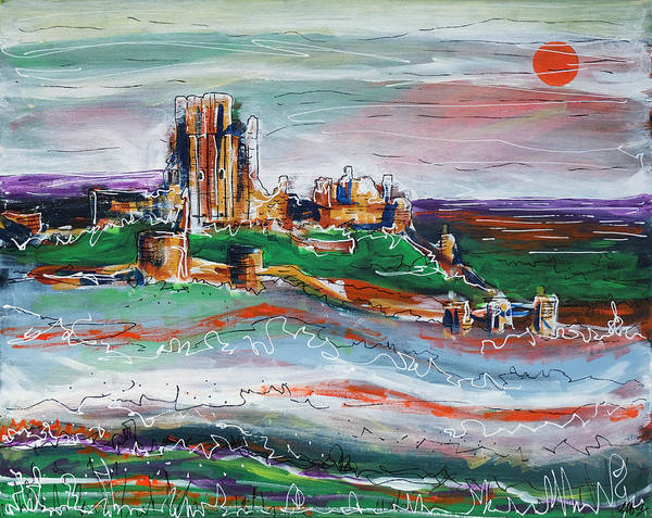 Corfe Painting - Corfe Castle by Laura Hol Art