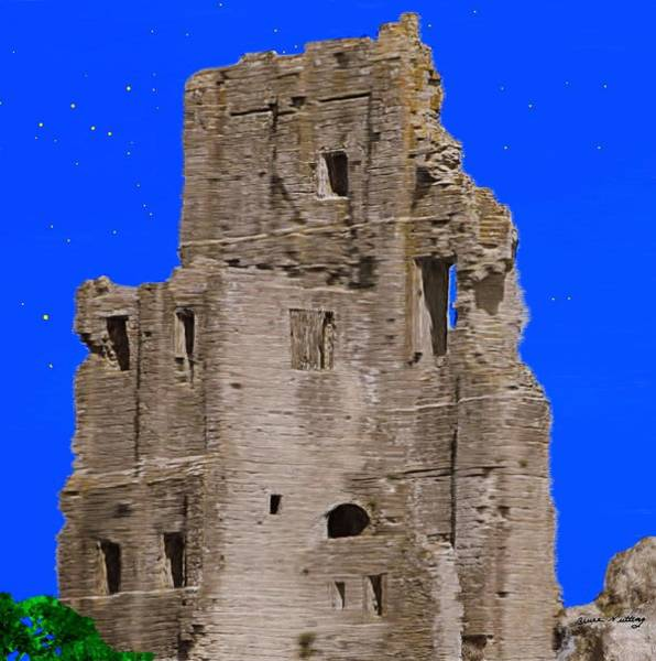 Corfe Painting - Corfe Castle Ruins by Bruce Nutting