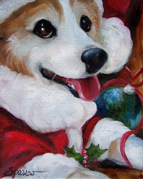Wall Art - Painting - Corgi Claus by Mary Sparrow