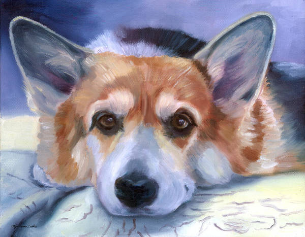Wall Art - Painting - Corgi Gazing by Lyn Cook