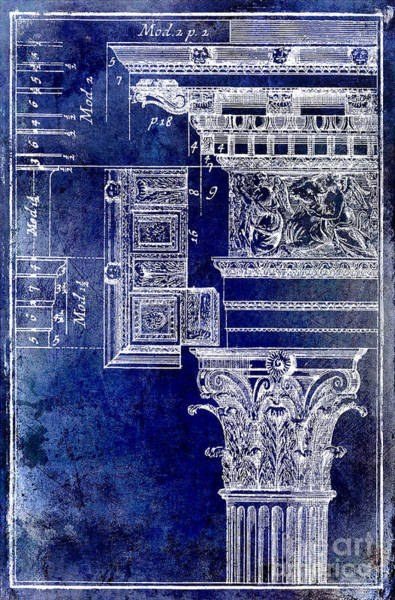 Wall Art - Drawing - Corinthian Capitol Blue by Jon Neidert