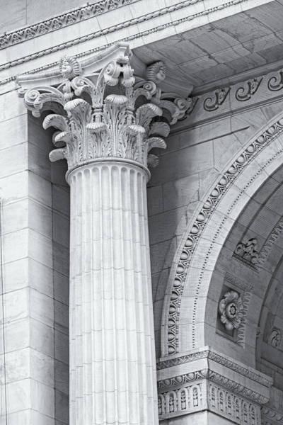 Photograph - Corinthian Column Detail Bw by Susan Candelario