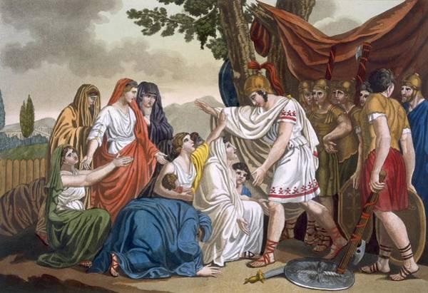 Roman Soldier Drawing - Coriolanus And His Mother Volumnia by Jacques Grasset de Saint-Sauveur