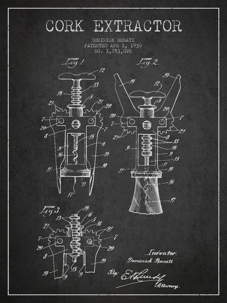 Corkscrew Wall Art - Digital Art - Cork Extractor Patent Drawing From 1930 - Dark by Aged Pixel