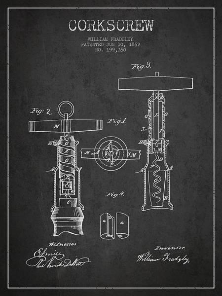 Corkscrew Wall Art - Digital Art - Corkscrew Patent Drawing From 1862 - Dark by Aged Pixel