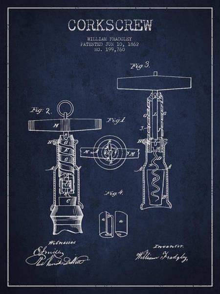 Corkscrew Wall Art - Digital Art - Corkscrew Patent Drawing From 1862 - Navy Blue by Aged Pixel