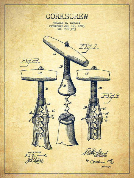 Corkscrew Wall Art - Digital Art - Corkscrew Patent Drawing From 1883 - Vintage by Aged Pixel