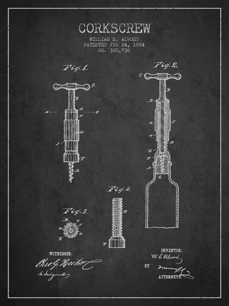 Corkscrew Wall Art - Digital Art - Corkscrew Patent Drawing From 1884 by Aged Pixel