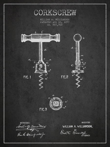 Corkscrew Wall Art - Digital Art - Corkscrew Patent Drawing From 1897 - Dark by Aged Pixel