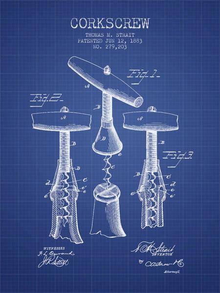 Corkscrew Wall Art - Digital Art - Corkscrew Patent From 1883- Blueprint by Aged Pixel