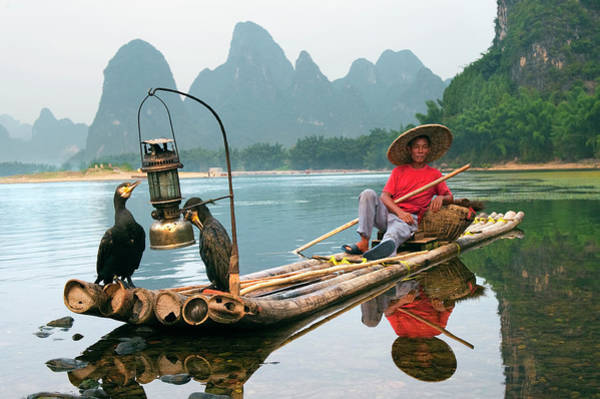 Raft Photograph - Cormorant Fisherman With His Birds On by Diana Mayfield