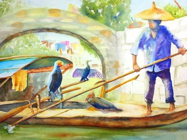 Raft Wall Art - Painting - Cormorant Fishing - China by Carlin Blahnik CarlinArtWatercolor