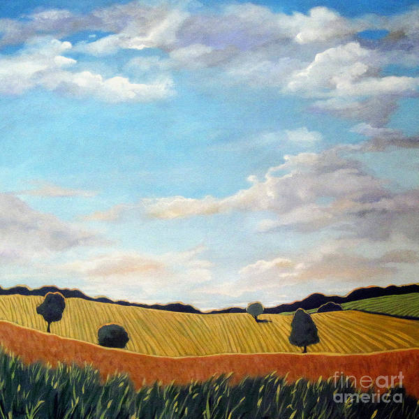 Wall Art - Painting - Corn And Wheat - Landscape by Linda Apple