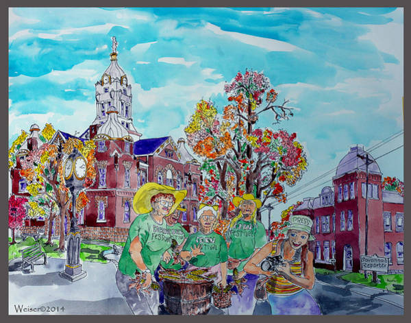 Courthouse Falls Painting - Corn Festival Officers by Dennis Weiser