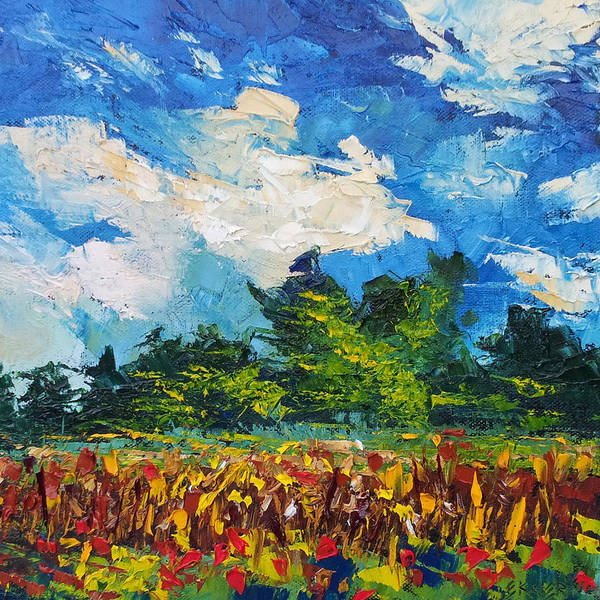 Painting - Corn Field Blue Sky Oil Painting by Ekaterina Chernova