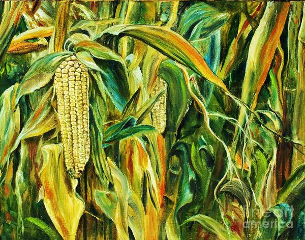 Husk Painting - Spirit Of The Corn by Anna-maria Dickinson