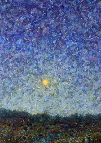 Full Moon Painting - Cornbread Moon by James W Johnson