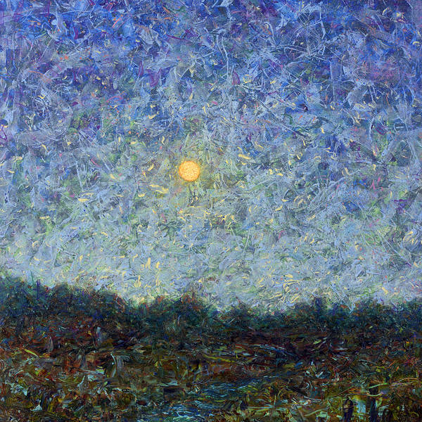 Full Moon Painting - Cornbread Moon - Square by James W Johnson