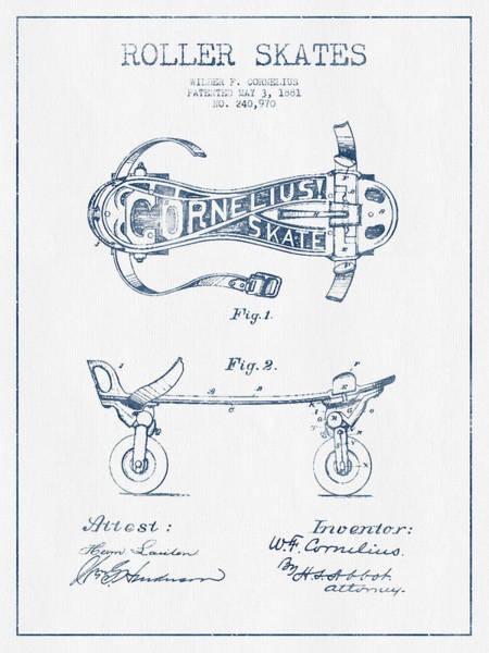 Blades Digital Art - Cornelius Roller Skate Patent Drawing From 1881  - Blue Ink by Aged Pixel