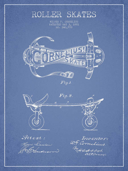 Blades Digital Art - Cornelius Roller Skate Patent Drawing From 1881 - Light Blue by Aged Pixel