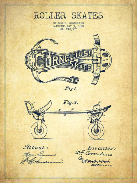 Blades Digital Art - Cornelius Roller Skate Patent Drawing From 1881 - Vintage by Aged Pixel