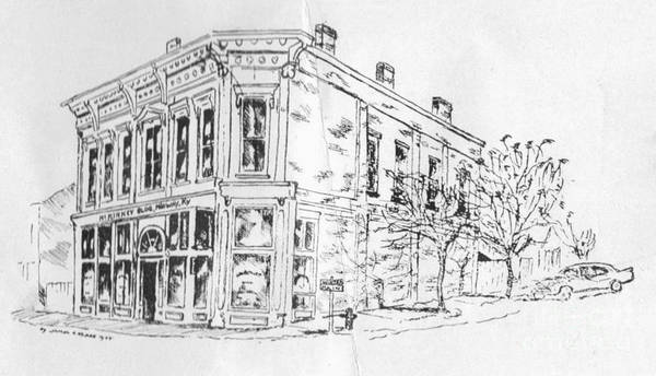 Drawing - Corner Of Water And Main by David Neace
