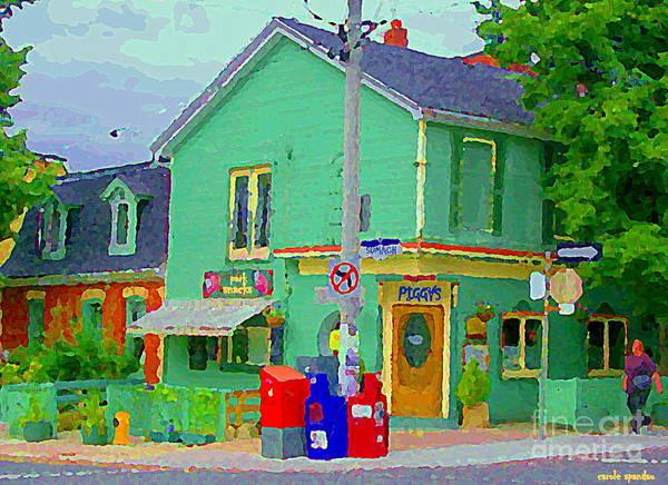 Painting - Corner Stores Toronto Street Scene Paintings Park Snacks Piggys Brunch And Ice Cream Shop Cspandau  by Carole Spandau