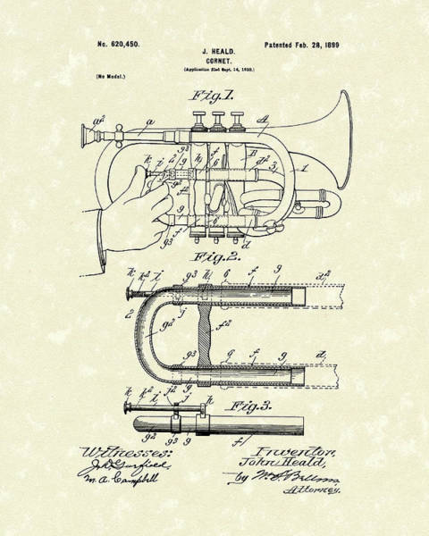 Wall Art - Drawing - Cornet 1899 Patent Art by Prior Art Design